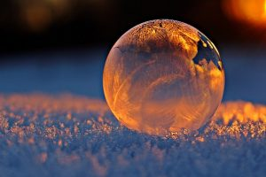 frozen bubble in the snow